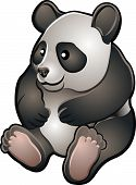 A vector illustration of a cute friendly giant panda bear poster