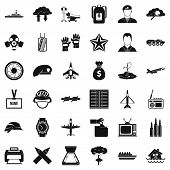 Detachment icons set. Simple set of 36 detachment icons for web isolated on white background poster