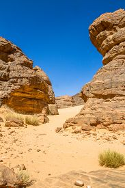 Sahara Desert Landscape.  Amazing Sandstone Rock Formation  At  Tassili Najjer National Park, Algeri