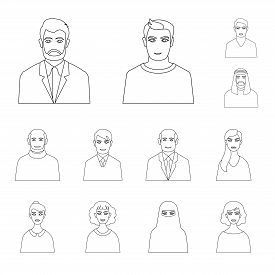 Vector Illustration Of Character  And Avatar Symbol. Collection Of Character  And Person Vector Icon