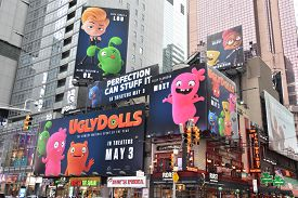 New York, Ny - Apr 14: Times Square, Featured With Broadway Theaters And Animated Led Signs, In Manh