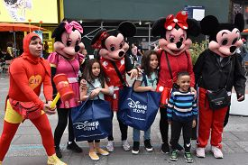 New York, Ny - Apr 14: Costumed Characters At Times Square, In Manhattan, New York City, As Seen On