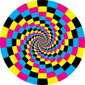 Clock Dial Cyan Magenta Yellow Black Signs Target Wirl Perspective Illusion Background Graphic Desig