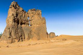 Sahara Desert. Tassili Najjer National Park. Amazing, Single Rock Formation Near Djanet, South Alger