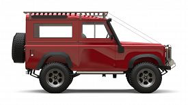 Red Old Small Suv Tuned For Difficult Routes And Expeditions. 3d Rendering.