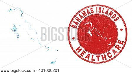 Vector Mosaic Bahamas Islands Map With Dose Icons, Labs Symbols, And Grunge Healthcare Seal Stamp. R