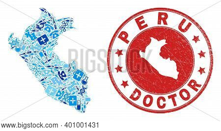 Vector Collage Peru Map Of Vaccination Icons, Hospital Symbols, And Grunge Health Care Rubber Imitat