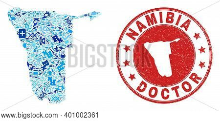 Vector Collage Namibia Map With Injection Icons, Analysis Symbols, And Grunge Doctor Seal Stamp. Red