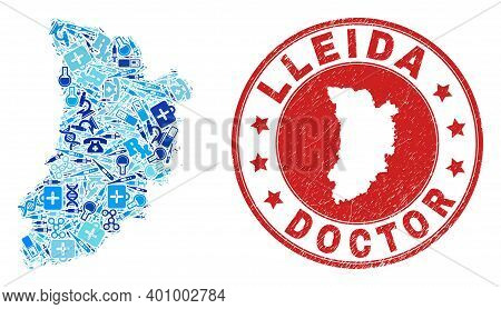 Vector Mosaic Lleida Province Map With Vaccination Icons, Hospital Symbols, And Grunge Health Care S