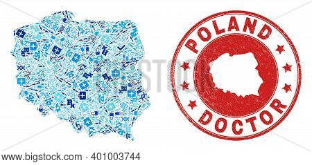 Vector Mosaic Poland Map With Vaccination Icons, Test Symbols, And Grunge Health Care Imprint. Red R