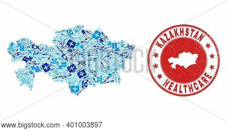 Vector Mosaic Kazakhstan Map With Injection Icons, First Aid Symbols, And Grunge Doctor Rubber Imita