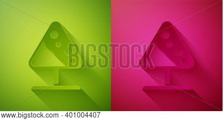 Paper Cut Road Sign Avalanches Icon Isolated On Green And Pink Background. Snowslide Or Snowslip Rap