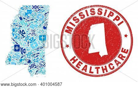 Vector Collage Mississippi State Map Of Dose Icons, Receipt Symbols, And Grunge Health Care Rubber I