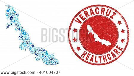 Vector Mosaic Veracruz State Map With Vaccination Icons, Medicine Symbols, And Grunge Doctor Imprint