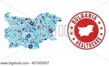 Vector Mosaic Bulgaria Map With Healthcare Icons, Laboratory Symbols, And Grunge Healthcare Watermar