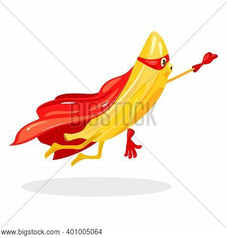 Tropical Fruit In Red Coat And Eye Bandage Flying To Save World. Vector Caricature With Hands, Legs,