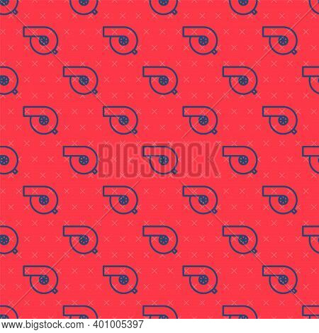Blue Line Automotive Turbocharger Icon Isolated Seamless Pattern On Red Background. Vehicle Performa