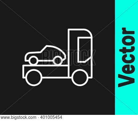 White Line Car Transporter Truck For Transportation Of Car Icon Isolated On Black Background. Vector