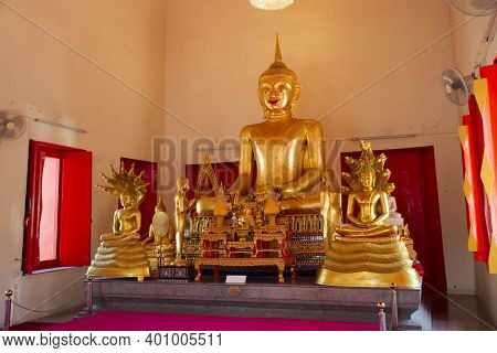 Golden Buddha Statue In Ubosot Or Church Of Wat Makham Temple Or Wat San Chao Shrine For Thai People