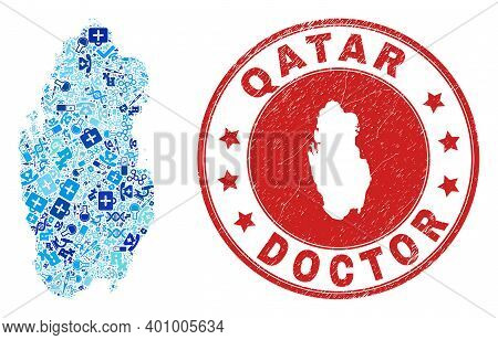 Vector Collage Qatar Map With Vaccination Icons, Medicine Symbols, And Grunge Health Care Rubber Imi