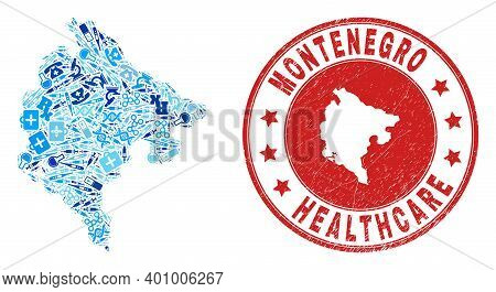 Vector Mosaic Montenegro Map Of Syringe Icons, Receipt Symbols, And Grunge Healthcare Seal Stamp. Re