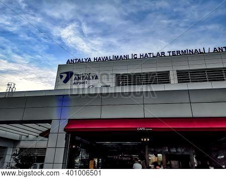 Turkey, Antalya - October 24, 2019: Building With A Signboard Antalya Havalimani Ic Hatlar Terminali