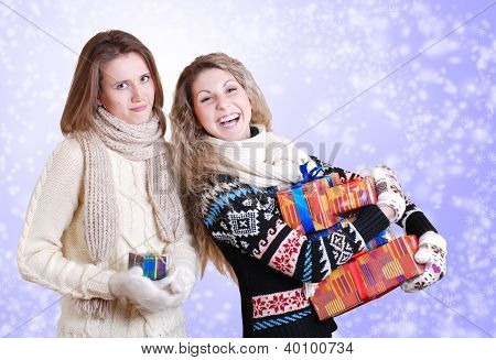 Two Girlfriends With Christmas Presents