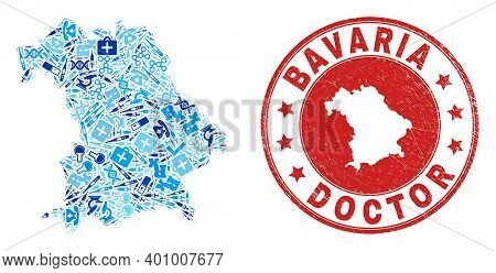 Vector Mosaic Bavaria Land Map With Vaccination Icons, Medicine Symbols, And Grunge Health Care Seal