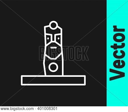 White Line Slavic Pagan Idol Icon Isolated On Black Background. Antique Ritual Wooden Idol. Vector
