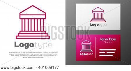 Logotype Line Parthenon From Athens, Acropolis, Greece Icon Isolated On White Background. Greek Anci
