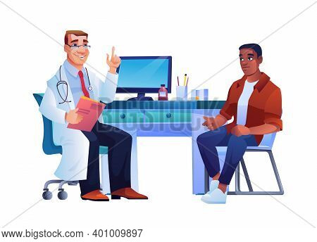 Patient And Specialist In Doctors Office, Afro American Man On Consultation Of General Practitioner.