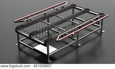 Conveyor Belt Smooth -  Conveyor Belt Chain - Conveyor For Glass Loading - 3d Render