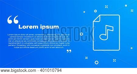 White Line Music Book With Note Icon Isolated On Blue Background. Music Sheet With Note Stave. Noteb
