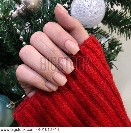 Stylish Trendy Female Pink Manicure.hands Of A Woman With Pink Manicure On Nails