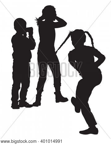 Little children in warm clothes are walking on street. Isolated silhouettes on white background