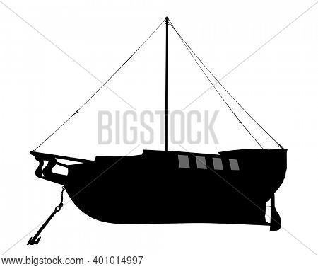 Old sailing ship lies on the shore. Isolated object on white background