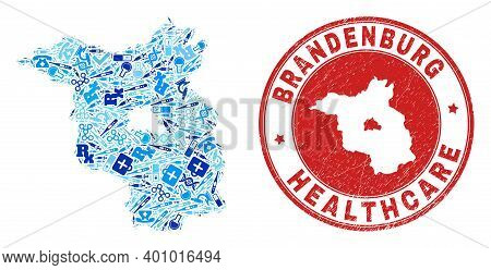 Vector Collage Brandenburg Land Map With Syringe Icons, Laboratory Symbols, And Grunge Doctor Seal S