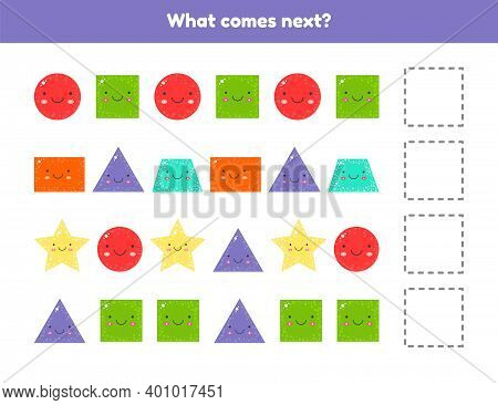What Comes Next. Continue The Sequence. Geometric Shapes. Worksheet For Kids Kindergarten, Preschool