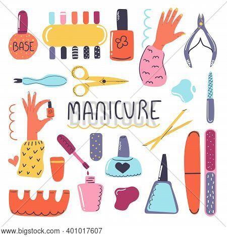 Big Hand Drawn Set Of Cosmetic Products For Nail Care. Manicure Tools, Nail Polish, Nail File, Nail