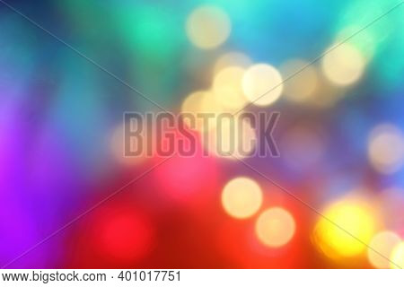Many Different Multi-colored Blurred Spots. Festive Light Show