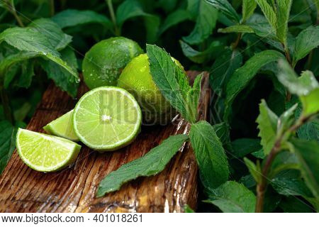 Wet Growing Mint In The Garden And Limes. Lime Slices And Mint Leaves On An Old Wooden Background.
