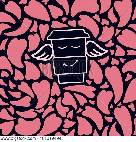 Abstract Heart Background With A Mug. Cartoon Doodle Hearts Texture With A Cup Of Coffee. Pink Abstr