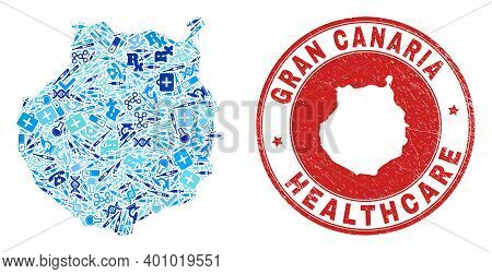 Vector Collage Gran Canaria Map With Inoculation Icons, Labs Symbols, And Grunge Doctor Seal Stamp.
