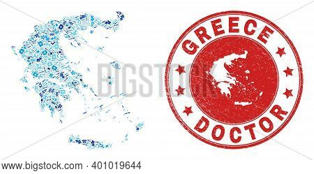 Vector Collage Greece Map With Vaccination Icons, Test Symbols, And Grunge Doctor Imprint. Red Round