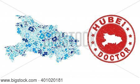 Vector Collage Hubei Province Map With Syringe Icons, Test Symbols, And Grunge Healthcare Rubber Imi
