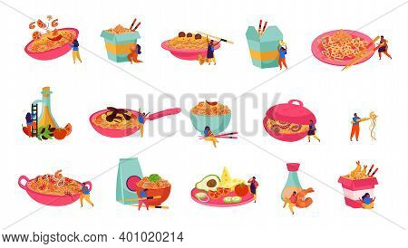 Wok Box Flat Recolor Set Of Isolated Icons With Served And Packed Asian Fast Food Noodles Vector Ill