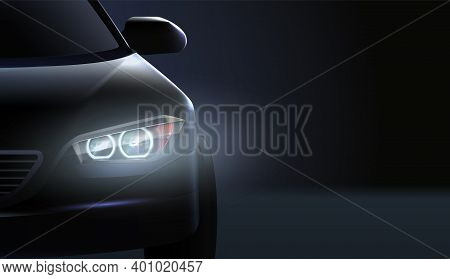 Realistic Car Headlights Ad Composition High Class Status Car In The Dark Vector Illustration