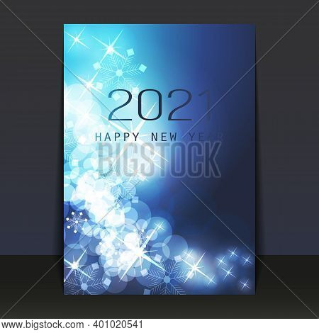 Ice Cold Blue Pattered Shimmering New Year Card, Flyer Or Cover Design - 2021