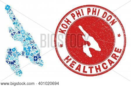 Vector Collage Koh Phi Don Map With Vaccination Icons, Chemical Symbols, And Grunge Healthcare Stamp