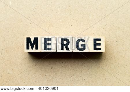 Alphabet Letter Block In Word Merge On Wood Background